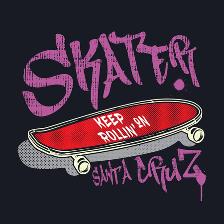 Skateboard with graffiti style sign Skater. Urban typography design for tee shirt, poster, print, apparel.