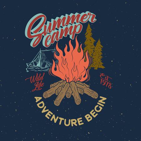 Summer camp adventure vintage graphic. Bonfire, tent, pine tree vector illustration. Wild life typography design.