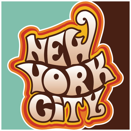 New York city.Classic psychedelic 60s and 70s lettering.  イラスト・ベクター素材