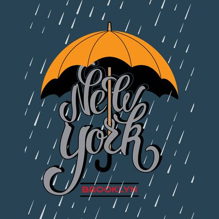 New York brush lettering design under a yellow umbrella protecting from rain drop. 写真素材 - 128474943