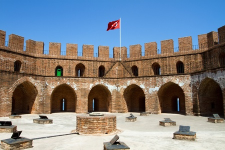on the red tower, the symbol of alanya in turkey