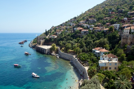 overlooking the famous bay keykubat beach and the fortifications of alanya Reklamní fotografie