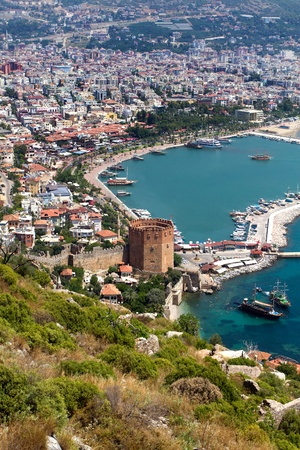 Port Alanya and red brick tower - Turkey