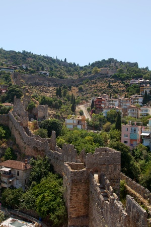 fortress on the hill in the town Alanya in Turkey