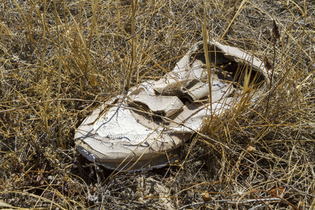 Decaying shoe bleached by the weather lying out of doors on an old factory site surrounded by dead grass.