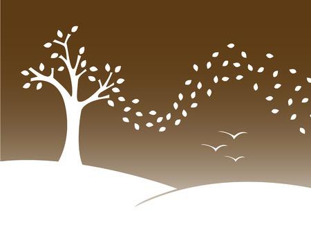 Stylized vector illustration of a autumn landscape. Stock Vector - 5822905