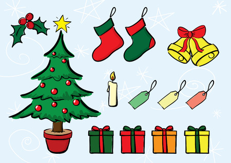 Vector christmas objects.All elements on separate layers. Illustration