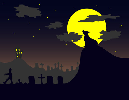 Vector illustration of a halloween-like landscape.Easy to edit layers. Vector