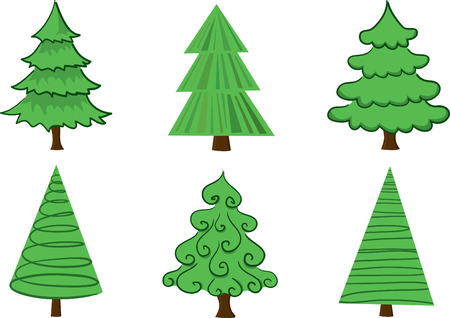 Set of vector trees. Easy to edit. Vector