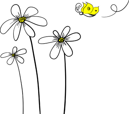 white daisy: flower background.Easy to edit layers. Illustration