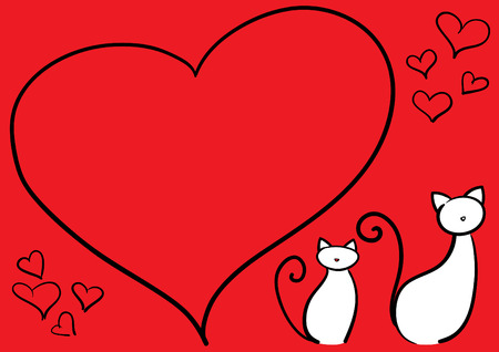 edit valentine: valentine card with kittens.Easy to edit.