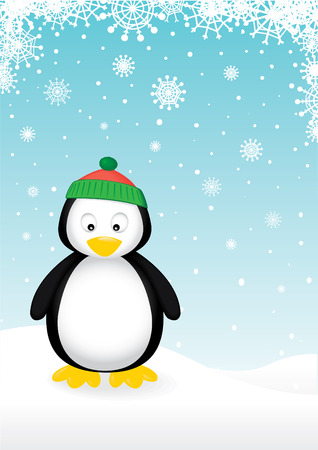 penguin on snowy background.Easy to edit.