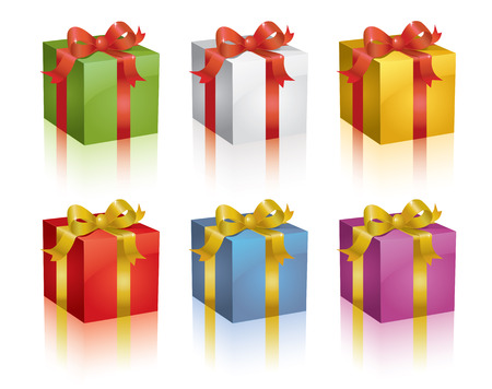 Set of colorful shiny gift boxes. Vector