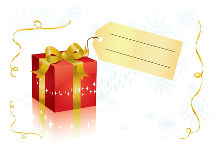 present box with tag for your text.