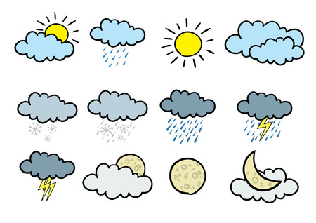 Set of 12 cartoonish weather icons.
