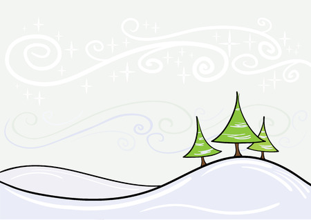 Beautiful winter vector landscape. Easy to edit. Stock Vector - 5957217
