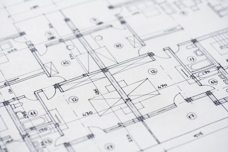 Close up shot of some architectural plans.