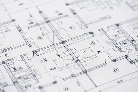 Close-up shot van enkele architecturale plannen. Stockfoto