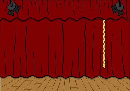 drapes:  illustration of a theater stage, curtains down.