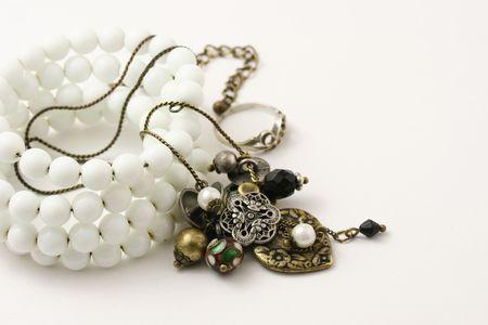 Macro shot of jewelry isolated on white. photo