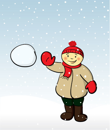 Boy tossing a snowball towards the viewer