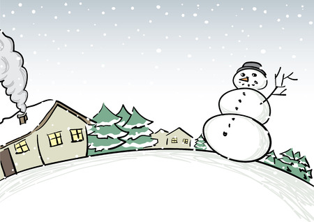 winter scene: Winter scene with snowman Illustration