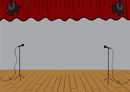Vector theater podium met gordijnen up en microfoons.