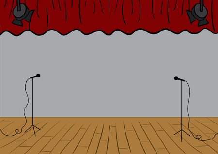 theater auditorium: Vector theater stage with curtains up and microphones. Illustration