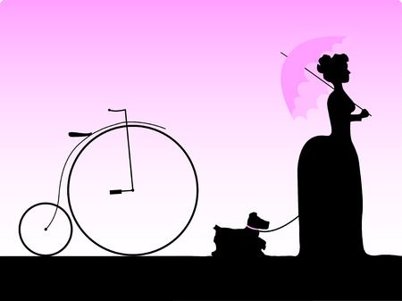 velocipede: Vector silhouette of girl walking her dog in a retro style. Illustration
