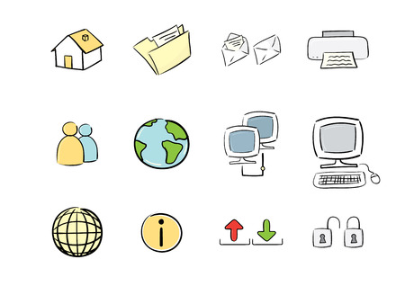 hand drawn icon set : computer &amp, web