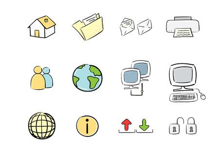 hand drawn icon set : computer &, web