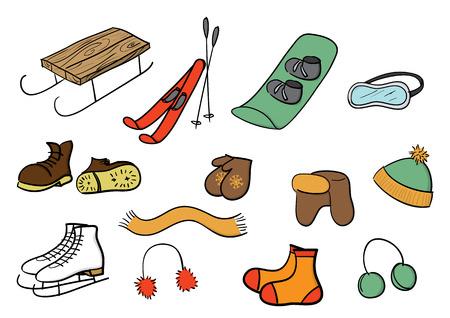 ropa de invierno: invierno ropa y deportes de conjunto. Vectores