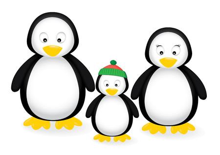 illustration of a penguin family