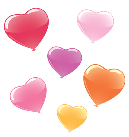 Set of vector colorful heart shaped balloons.