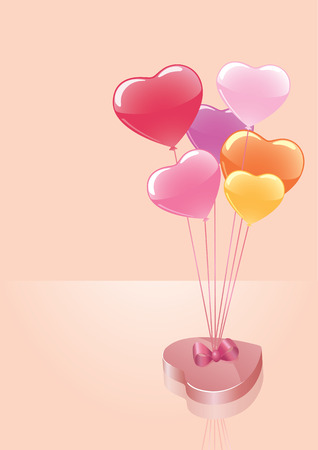 Vector candy box with colorful balloons. Perfect for valentines day. Illustration