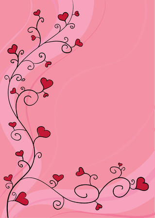Hand drawn curly flourish with heart blooms Vector
