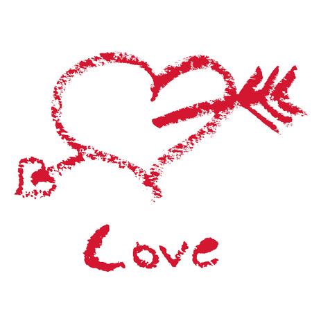 Lipstick drawn text and arrow heart Stock Vector - 6346801