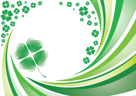 Vector saint patrick's background with four leaf clover design. Stock Vector - 6389259