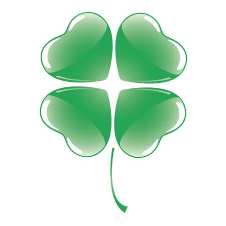 Vector shiny saint patrick's four leaf clover. Stock Vector - 6389257