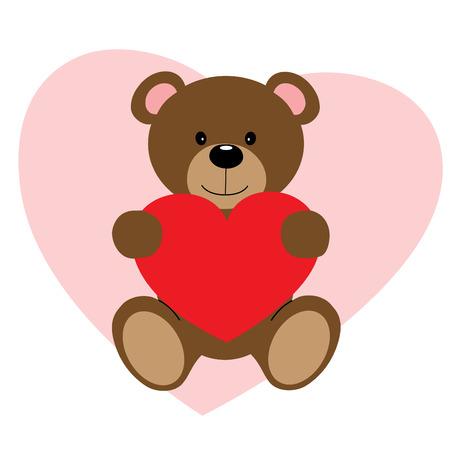 Cute vector teddy bear holding red heart