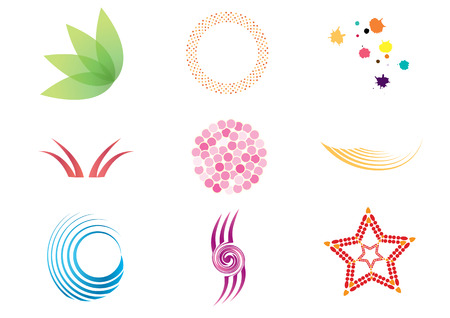 Collection of colorful symbols and icons.