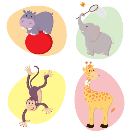 Set of cute happy jungle animals : hippo, elephant, monkey, giraffe. Vector