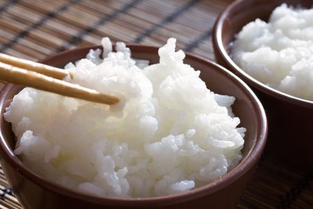 Delicious and healthy steamed white thai rice.