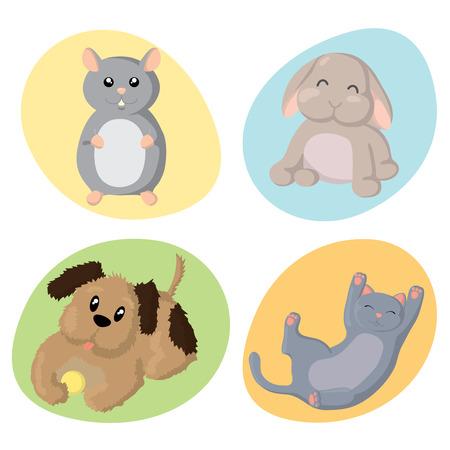 Set of cute happy pet animals : hamster, rabbit, dog, cat. Ilustrace