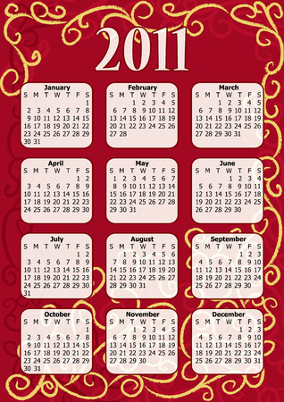 Calendar for the year 2011 in format. Vector