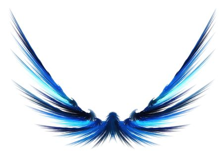 Fractal rendering of a beautiful abstract set of wings. photo