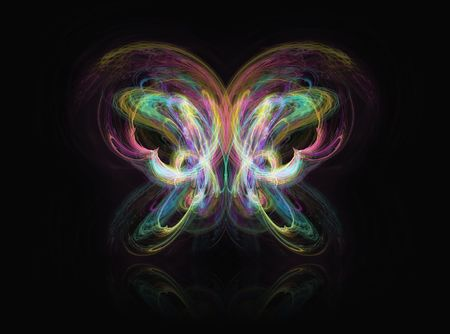 Fractal rendering of a beautiful abstract butterfly on black. photo