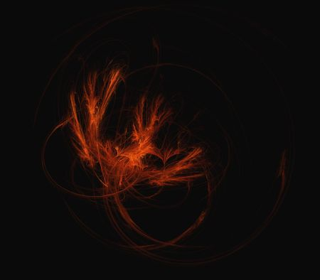 fire circle: Abstract fractal illustration of a fire bird or phoenix