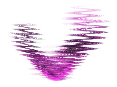 Abstract swirly pink heart isolated on white photo