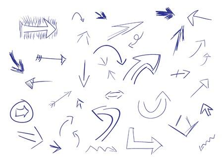 flecha derecha: Colecci�n de flechas de estilo de bosquejo dibujado a mano en diferentes direcciones y estilos.